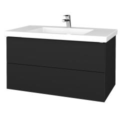 Dřevojas - Koupelnová skříňka VARIANTE SZZ2 100 - L03 Antracit vysoký lesk / L03 Antracit vysoký lesk (275235)