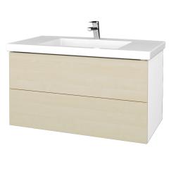 Dřevojas - Koupelnová skříňka VARIANTE SZZ2 100 - N01 Bílá lesk / D02 Bříza (275297)