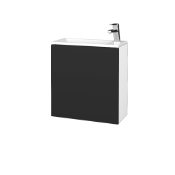 Dřevojas - Koupelnová skříň VARIANTE SZD 50 - N01 Bílá lesk / N03 Graphite / Levé (328061)