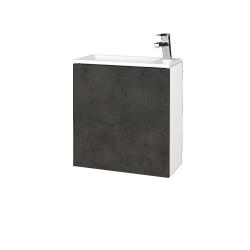 Dřevojas - Koupelnová skříň VARIANTE SZD 50 - N01 Bílá lesk / D16 Beton tmavý / Pravé (339364P)