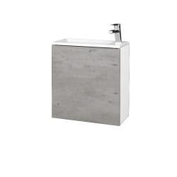 Dřevojas - Koupelnová skříň VARIANTE SZD 50 - N01 Bílá lesk / D01 Beton / Pravé (339487P)