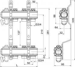 NOVASERVIS - Rozdělovač s regulačními a mechanickými ventily 7 okruhů (RO07S), fotografie 4/2