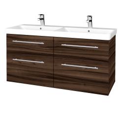 Dřevojas - Koupelnová skříň Q MAX SZZ4 120 - D06 Ořech / Úchytka T02 / D06 Ořech (332198B)