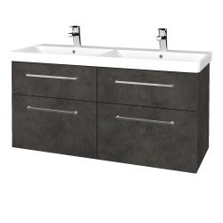 Dřevojas - Koupelnová skříň Q MAX SZZ4 120 - D16  Beton tmavý / Úchytka T04 / D16 Beton tmavý (332242E)
