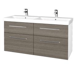 Dřevojas - Koupelnová skříň Q MAX SZZ4 120 - N01 Bílá lesk / Úchytka T04 / D03 Cafe (332365E)