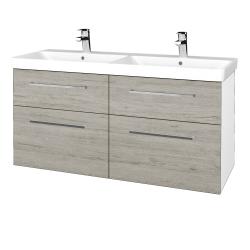 Dřevojas - Koupelnová skříň Q MAX SZZ4 120 - N01 Bílá lesk / Úchytka T04 / D05 Oregon (332389E)
