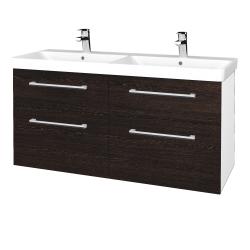 Dřevojas - Koupelnová skříň Q MAX SZZ4 120 - N01 Bílá lesk / Úchytka T03 / D08 Wenge (332402C)