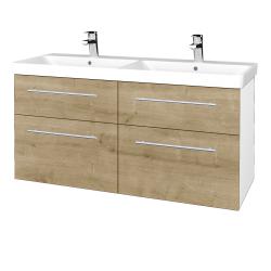 Dřevojas - Koupelnová skříň Q MAX SZZ4 120 - N01 Bílá lesk / Úchytka T02 / D09 Arlington (332419B)