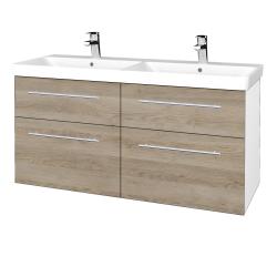 Dřevojas - Koupelnová skříň Q MAX SZZ4 120 - N01 Bílá lesk / Úchytka T02 / D17 Colorado (332457B)