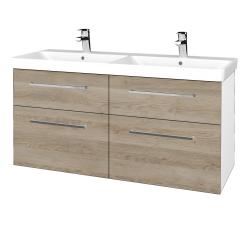 Dřevojas - Koupelnová skříň Q MAX SZZ4 120 - N01 Bílá lesk / Úchytka T04 / D17 Colorado (332457E)