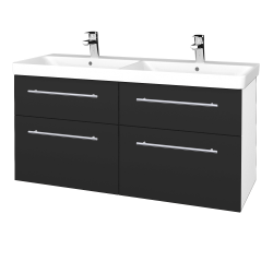 Dřevojas - Koupelnová skříň Q MAX SZZ4 120 - N01 Bílá lesk / Úchytka T02 / N03 Graphite (332518B)