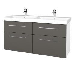 Dřevojas - Koupelnová skříň Q MAX SZZ4 120 - N01 Bílá lesk / Úchytka T04 / N06 Lava (332525E)