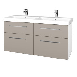 Dřevojas - Koupelnová skříň Q MAX SZZ4 120 - N01 Bílá lesk / Úchytka T04 / N07 Stone (332532E)