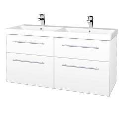 Dřevojas - Koupelnová skříň Q MAX SZZ4 120 - N01 Bílá lesk / Úchytka T02 / L01 Bílá vysoký lesk (332556B)