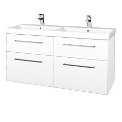 Dřevojas - Koupelnová skříň Q MAX SZZ4 120 - N01 Bílá lesk / Úchytka T04 / L01 Bílá vysoký lesk (332556E)