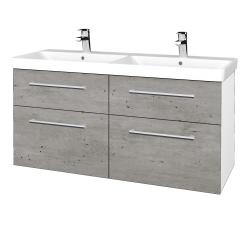 Dřevojas - Koupelnová skříň Q MAX SZZ4 120 - N01 Bílá lesk / Úchytka T03 / D01 Beton (332563C)