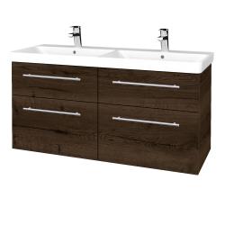 Dřevojas - Koupelnová skříň Q MAX SZZ4 120 - D21 Tobacco / Úchytka T02 / D21 Tobacco (332587B)