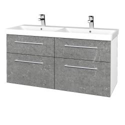 Dřevojas - Koupelnová skříň Q MAX SZZ4 120 - N01 Bílá lesk / Úchytka T03 / D20 Galaxy (332594C)