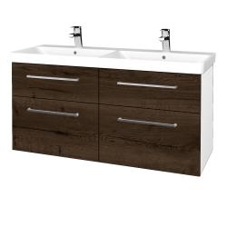 Dřevojas - Koupelnová skříň Q MAX SZZ4 120 - N01 Bílá lesk / Úchytka T04 / D21 Tobacco (332600E)