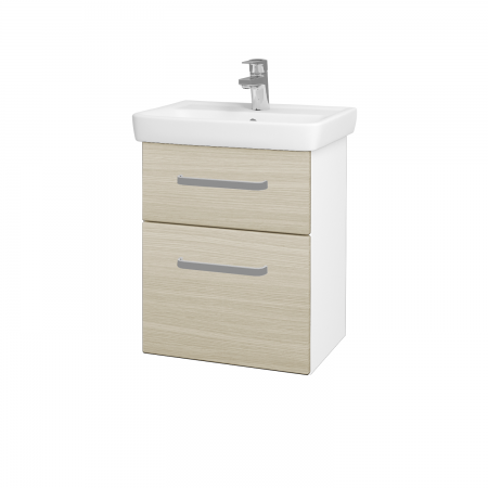 Dřevojas - Koupelnová skříň GO SZZ2 50 - N01 Bílá lesk / Úchytka T01 / D04 Dub (27943A)