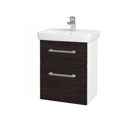Dřevojas - Koupelnová skříň GO SZZ2 50 - N01 Bílá lesk / Úchytka T03 / D08 Wenge (28032C)