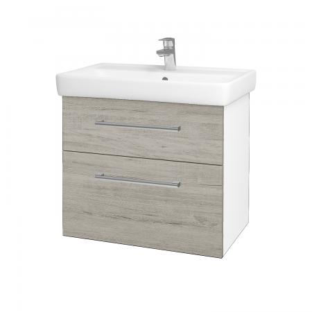 Dřevojas - Koupelnová skříň Q MAX SZZ2 70 - N01 Bílá lesk / Úchytka T03 / D05 Oregon (61732C)