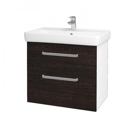 Dřevojas - Koupelnová skříň Q MAX SZZ2 70 - N01 Bílá lesk / Úchytka T01 / D08 Wenge (60063A)