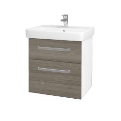 Dřevojas - Koupelnová skříň Q MAX SZZ2 60 - N01 Bílá lesk / Úchytka T01 / D03 Cafe (68403A)
