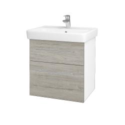 Dřevojas - Koupelnová skříň Q MAX SZZ2 60 - N01 Bílá lesk / Úchytka T02 / D05 Oregon (61725B)