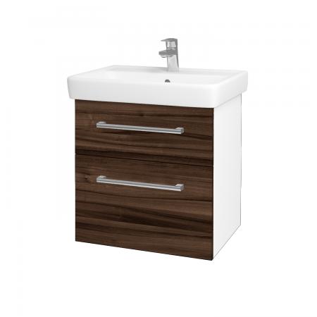 Dřevojas - Koupelnová skříň Q MAX SZZ2 60 - N01 Bílá lesk / Úchytka T03 / D06 Ořech (60230C)