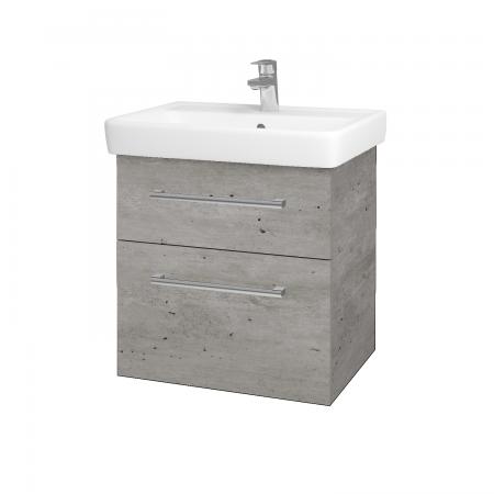Dřevojas - Koupelnová skříň Q MAX SZZ2 60 - D01 Beton / Úchytka T03 / D01 Beton (67529C)