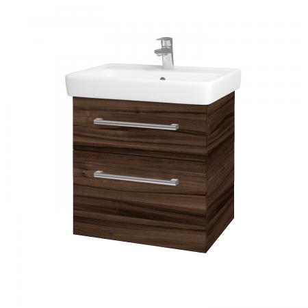 Dřevojas - Koupelnová skříň Q MAX SZZ2 60 - D06 Ořech / Úchytka T03 / D06 Ořech (60353C)