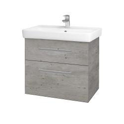 Dřevojas - Koupelnová skříň Q MAX SZZ2 70 - D01 Beton / Úchytka T01 / D01 Beton (67536A)
