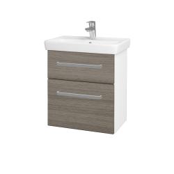 Dřevojas - Koupelnová skříň GO SZZ2 55 - N01 Bílá lesk / Úchytka T01 / D03 Cafe (27929A)