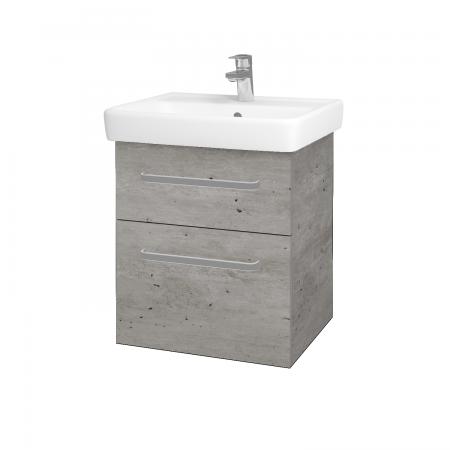Dřevojas - Koupelnová skříň Q MAX SZZ2 55 - D01 Beton / Úchytka T01 / D01 Beton (67512A)