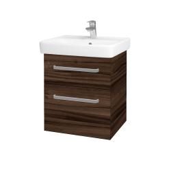 Dřevojas - Koupelnová skříň Q MAX SZZ2 55 - D06 Ořech / Úchytka T01 / D06 Ořech (61299A)