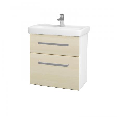 Dřevojas - Koupelnová skříň GO SZZ2 60 - N01 Bílá lesk / Úchytka T01 / D02 Bříza (28025A)