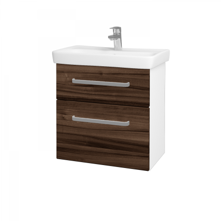 Dřevojas - Koupelnová skříň GO SZZ2 60 - N01 Bílá lesk / Úchytka T01 / D06 Ořech (20753A)