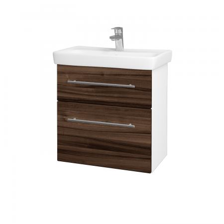 Dřevojas - Koupelnová skříň GO SZZ2 60 - N01 Bílá lesk / Úchytka T02 / D06 Ořech (20753B)