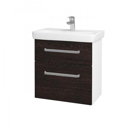 Dřevojas - Koupelnová skříň GO SZZ2 60 - N01 Bílá lesk / Úchytka T01 / D08 Wenge (28056A)