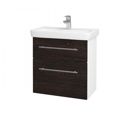 Dřevojas - Koupelnová skříň GO SZZ2 60 - N01 Bílá lesk / Úchytka T02 / D08 Wenge (28056B)