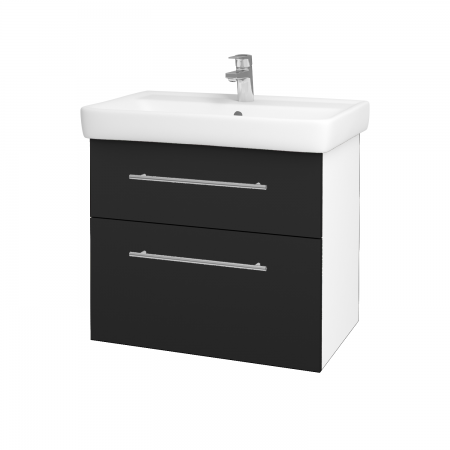 Dřevojas - Koupelnová skříň Q MAX SZZ2 70 - N01 Bílá lesk / Úchytka T02 / L03 Antracit vysoký lesk (60148B)