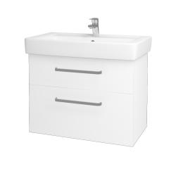 Dřevojas - Koupelnová skříň Q MAX SZZ2 80 - N01 Bílá lesk / Úchytka T01 / L01 Bílá vysoký lesk (60193A)