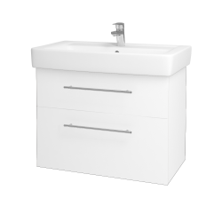 Dřevojas - Koupelnová skříň Q MAX SZZ2 80 - N01 Bílá lesk / Úchytka T02 / L01 Bílá vysoký lesk (60193B)