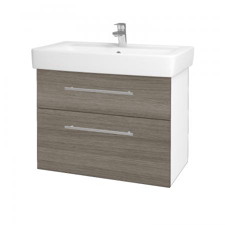 Dřevojas - Koupelnová skříň Q MAX SZZ2 80 - N01 Bílá lesk / Úchytka T02 / D03 Cafe (68427B)