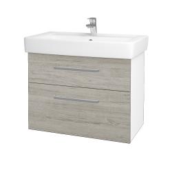 Dřevojas - Koupelnová skříň Q MAX SZZ2 80 - N01 Bílá lesk / Úchytka T01 / D05 Oregon (61749A)