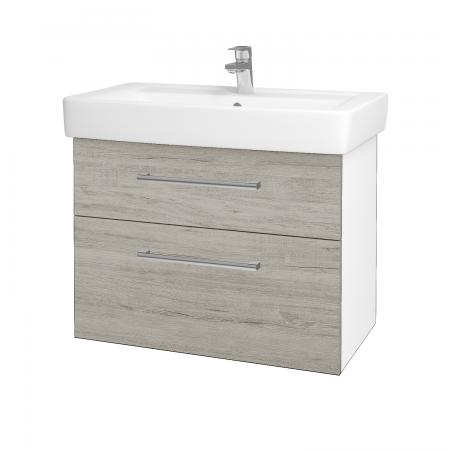 Dřevojas - Koupelnová skříň Q MAX SZZ2 80 - N01 Bílá lesk / Úchytka T03 / D05 Oregon (61749C)