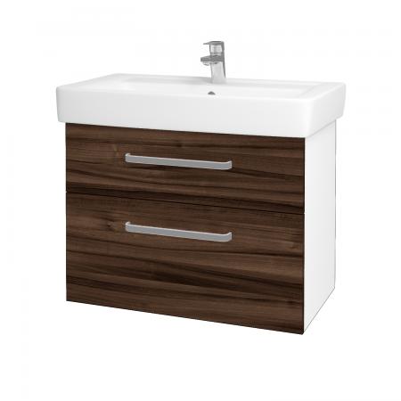Dřevojas - Koupelnová skříň Q MAX SZZ2 80 - N01 Bílá lesk / Úchytka T01 / D06 Ořech (60278A)