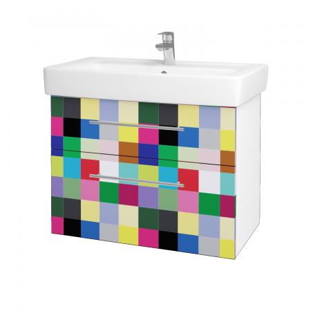 Dřevojas - Koupelnová skříň Q MAX SZZ2 80 - N01 Bílá lesk / Úchytka T02 / IND Individual (61572B)