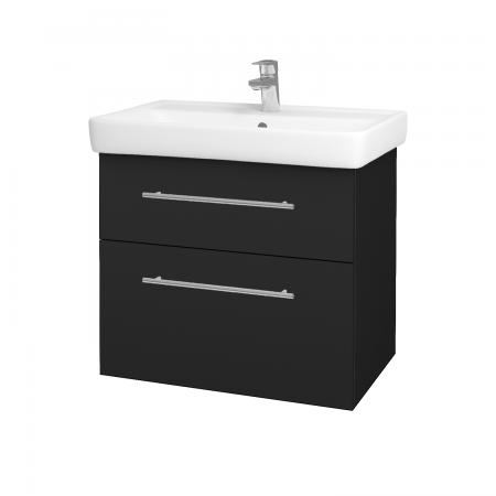 Dřevojas - Koupelnová skříň Q MAX SZZ2 70 - L03 Antracit vysoký lesk / Úchytka T02 / L03 Antracit vysoký lesk (60384B)